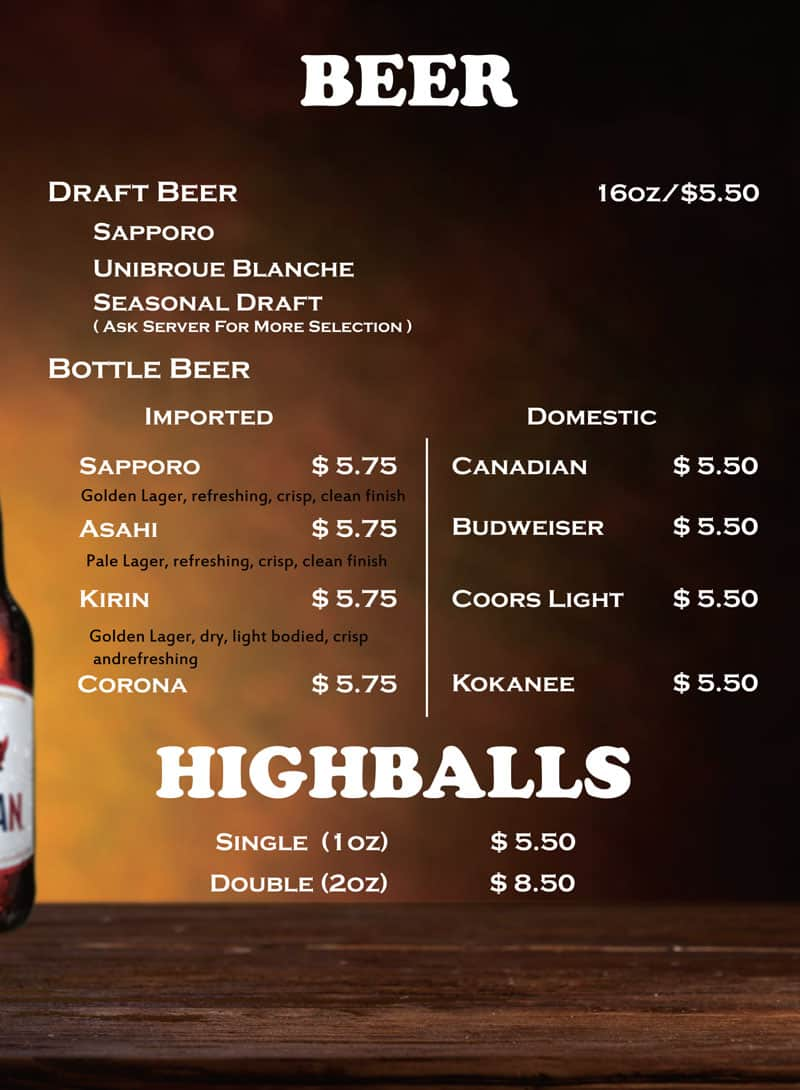 Beer and Highballs Menu