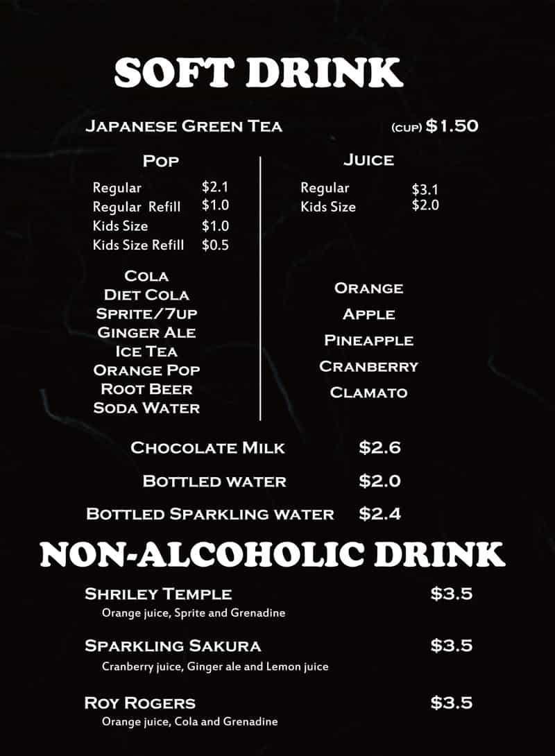 Soft drink and non-alcoholic menu